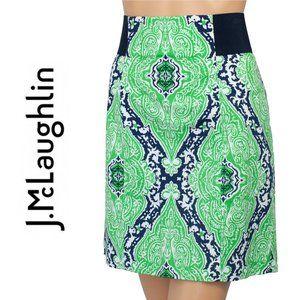 J. McLaughlin Karina Green Blue Paisley Mini Skirt